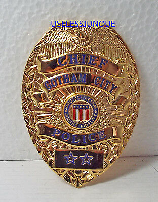 Obsolete Replica Copy Gotham City Chief Gold Plated Badge Costume Prop