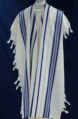 "Jewish Tallit Prayer Shawl Kosher talit 100% Pure Wool 55x75"" #60 Blue & Silver"