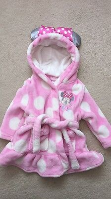 Baby Girls Disney Minnie Mouse Dressing Gown 6-9 Months