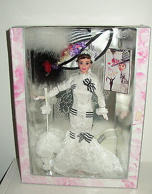 """Barbie As Eliza Doolittle In """"my Fair Lady""""/  White Ascot Races Dress/ Nrfb/ns"""
