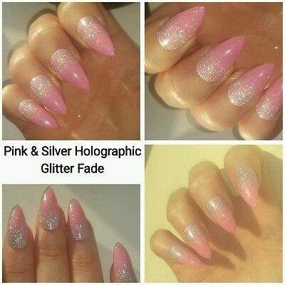 Pink With Silver Holographic Glitter Fade  Stilletto False Nails x 20
