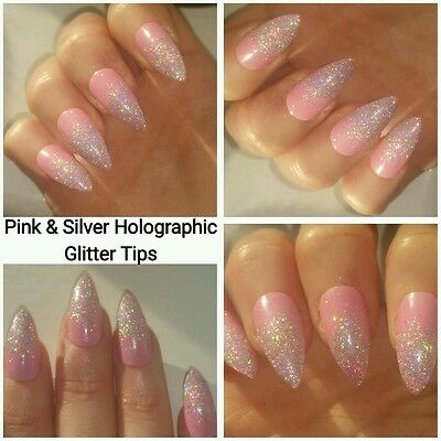 Pink With Silver Holographic Glitter Tips Stilletto False Nails x 20