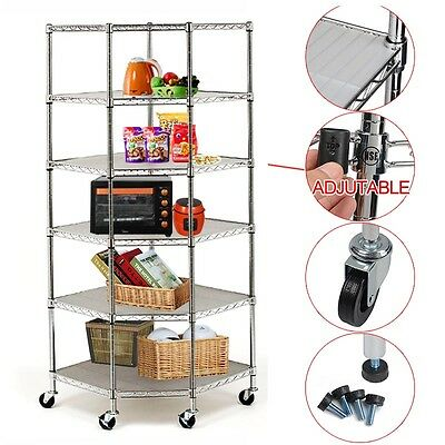Heavy Duty Wire Steel 6-Tier Corner Storage Shelving Chrome