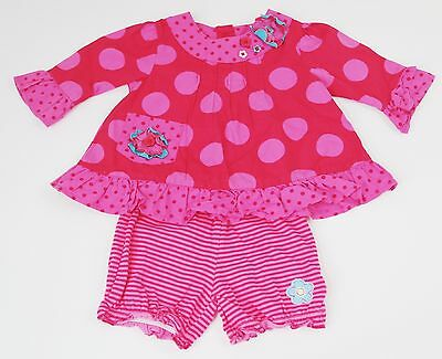 Baby Girls Ladybird Pink Red Tunic Top George Striped Shorts Set Age 0-3 Months