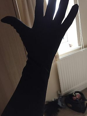 Black Silky Long Ladies Gloves (to Elbow) Unworn Perfect For Fancy Dress