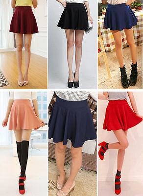 NEW women Short Stretch high Waist Plain Skater Flared Pleated Mini Skirt R2