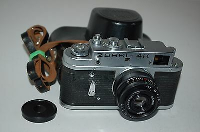 Zorki 4K Rangefinder Camera + Industar Lens, Case, Cap. 1974. 74118046. UK Sale
