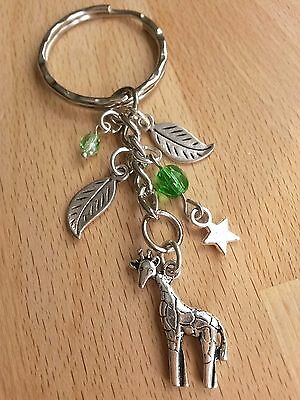Giraffe Keyring / Keychain Key Ring Gift with leaves and star