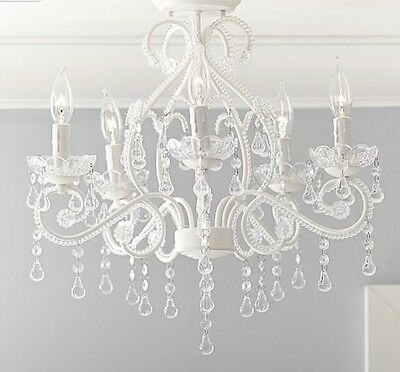 NEW Pottery Barn Kids Lydia Flushmount Chandelier WHITE CRYSTAL