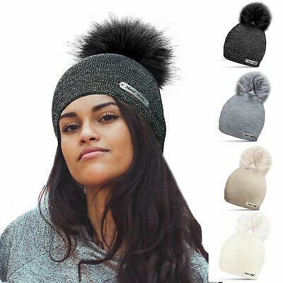 Ladies Womens Knit Glitter Sparkle Winter Bobble Beanie Faux Fur Pom Pom Hat