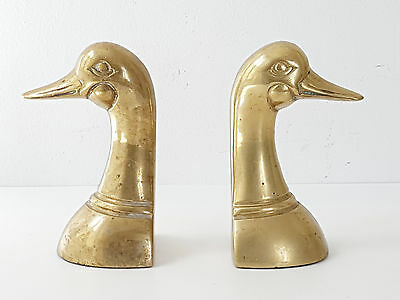 Pair Of Bookends Shaped Ducks Brass Golden 1950 1960 Vintage 50's