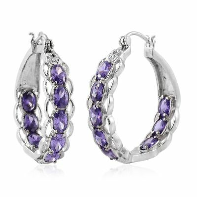 Simulated Purple Diamond Stainless Steel Inside Out Hoop Earrings TGW 11.40 cts.