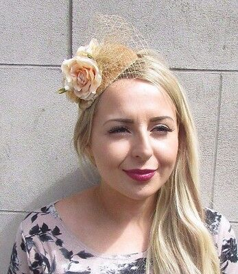 Gold Peach Rose Flower Fascinator Net Hair Headband Wedding Races Vintage 3109