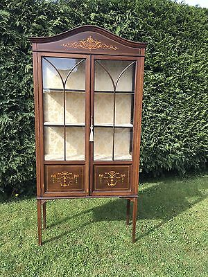 Antique Edwardian Inlaid Glazed Display Cabinet With Key And Painted Motifs