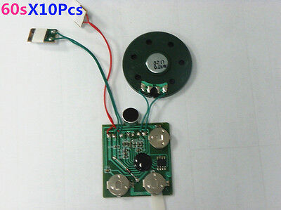 10Pcs/Lot 60s Push Button Recordable Module Voice Sound Chip for Greeting Card