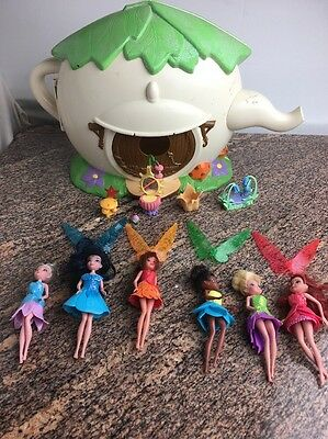 "Disney TINKERBELL Lot Of 6 5"" Fairy Dolls WINGS House Lot Huge Furniture"