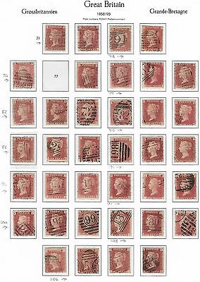 Queen Victoria 1858 To 1879 Penny Red Stock Page Loose Plate 71 To 109 (Ex 77)