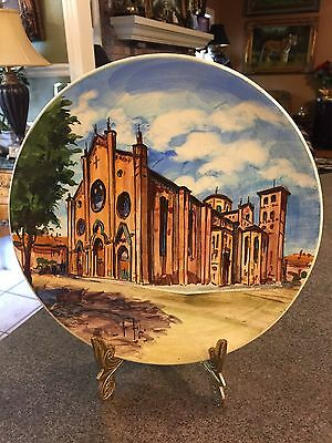Italian Asti la Cathedral Hand Painted Original Art Pottery Plate/Plaque; Signed