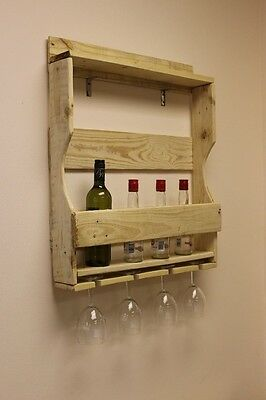 Wooden Wine Rack, Wine Bottle & Glass Holder Wall Mounted
