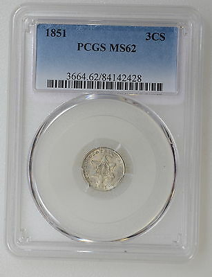 1851 Pcgs Ms62 Three 3 Cent Silver. First Year, Lt Patina Nice Luster - I-7871