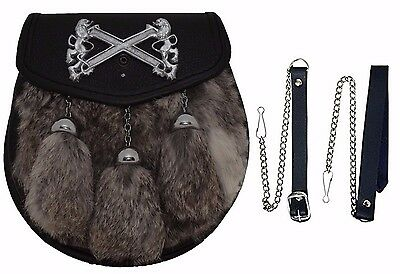 Grey Semi Dress Rabbit Sporran Front Rampart Lion Badge & 3 TASSELS Free Chain