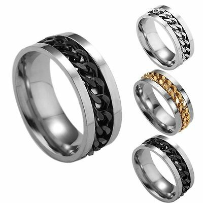 Jewelry Mens Stainless Band Ring Titanium Steel Rotatable Chain Spinner