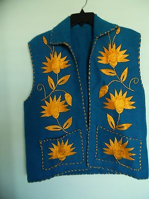 Vintage 50's  Wool Embroidered  Vest Hand Stitched Sz M