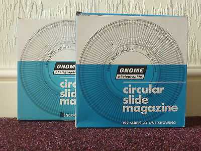 2 X Vintage Gnome Photographic Circular Slide Magazines 122 Slides In Each