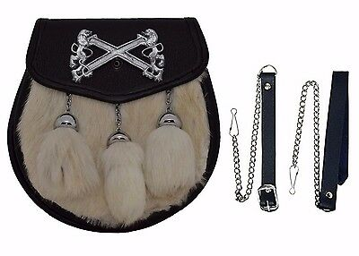 White Semi Dress Rabbit Sporran Front Rampart Lion Badge & 3 TASSELS Free Chain