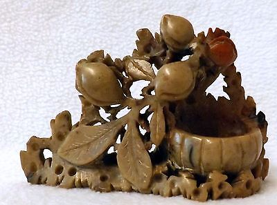Chinese Vintage Soapstone Ornament With Leaves and Nuts
