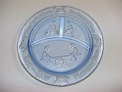 See Saw Margery Daw Pressed Glass Blue Transparent Child's Plate - Nursery Rhyme