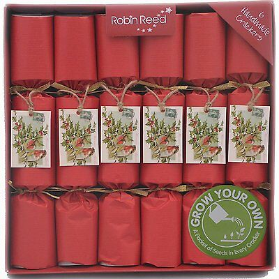 "Robin Reed 6 x 12"" Grow Your Own Seeds Kraft Christmas Crackers"