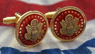 Republican Red & Gold Senate Gift Cufflinks~Roped Edging~Black Velvet Gift Boxed