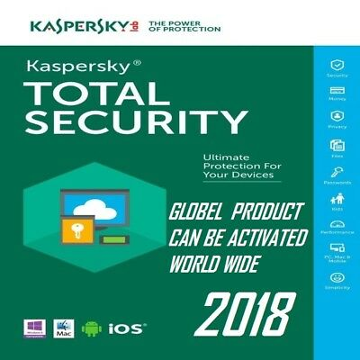 Kaspersky TOTAL Security 2018 DOWNLOAD(PC/MacAndroid)1 Device 1YEAR NO-CD!GLOBAL