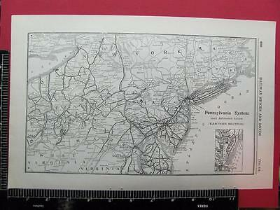 94 Year Old 1922 Pennsylvania Railroad Eastern System Map Prr Depot Locations