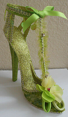 Katherines Collection High Heel Shoe Lime Green Glitter New