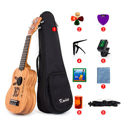 "Kmise Mahogany Body Soprano Ukulele Beginner Kit 21"" Uke Hawaii Guitar 12 Fret"