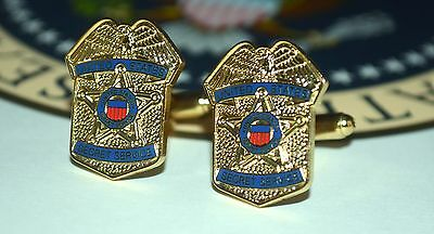 "Secret Service~Usss~Vip ""badge"" Cufflinks~Gold-Plated~Gift Boxed"