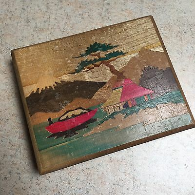 Vintage Retro Japanese Marquetry Ransome Wooden Hand Painted Cigarette Box