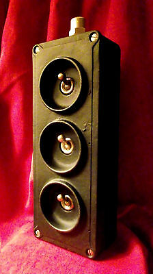 "Vintage Industrial Light Switch ""Crabtree"" 3 Three Gang Cast Iron Matt Black"
