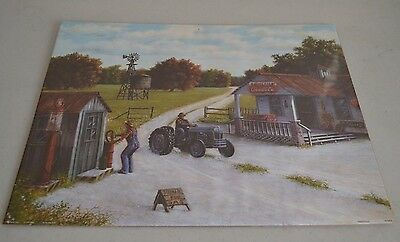 1999 RICK HICKS Farm Feed Seed Store 20 x 16 Poster Print Tractors Gas