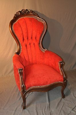 Carlton Mclendon Mahogany Carved Victorian Style Arm Chair