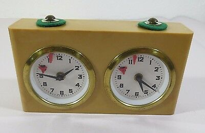 Analog Tan Chess Clock in Nylon Bag - Made in West Germany