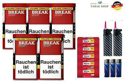 5 x Break Original Volumentabak 150g, 1000 Hülsen, Etui, 3 Feuerzeuge