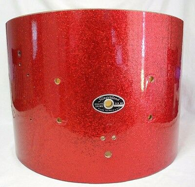 Vtg Slingerland 10 x 14 Snare Drum 8 Lug Red Sparkle Shell Only Niles Illinois