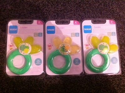 MAM Cooler Baby Teether Green & Yellow Unisex BPA Free Suitable For 4 Mths+