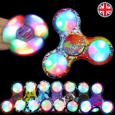 LED Flashing Hand Spinner Finger Toys Light Up Fidget EDC Stress ADHD Cube UK