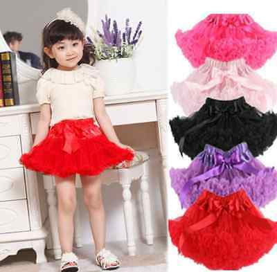 Kids Girls Tutu Skirt Tulle Fluffy Princess Dance Dress Party  US STOCK