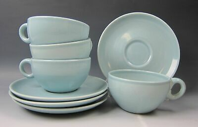 Lot of 4 Iroquois Pottery CASUAL-BLUE Cup & Saucer Sets EXCELLENT