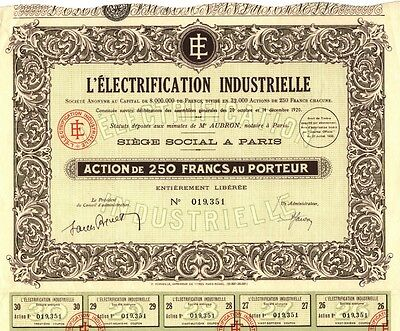 L' Electrification Industrielle S.A., Aktie, 250 Francs, 1933, DEKORATIV!